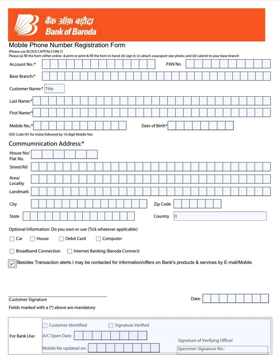 Bob mobile number registration form