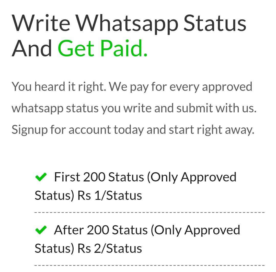 Earn money from whatsapp status