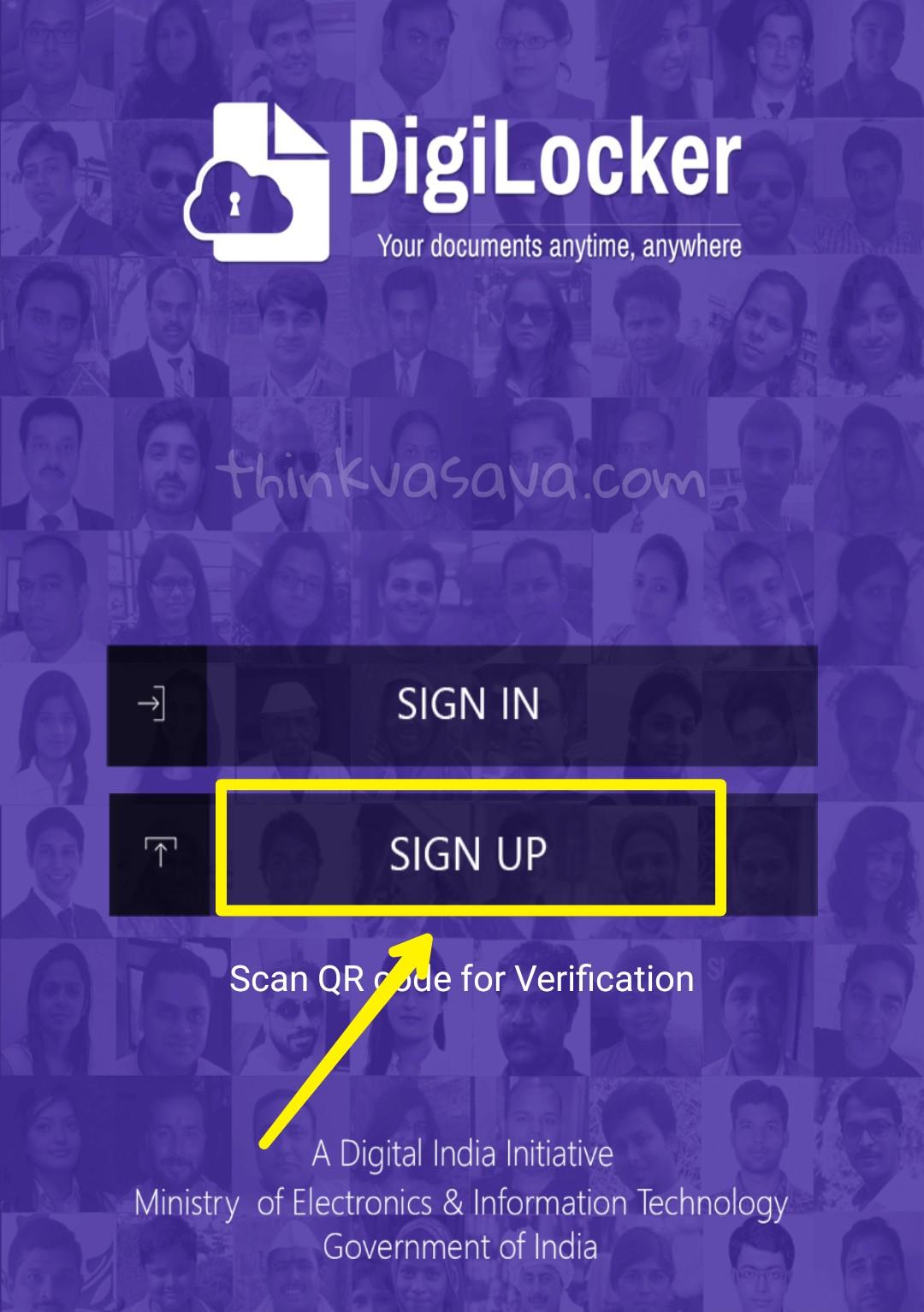 Digilocker sign up