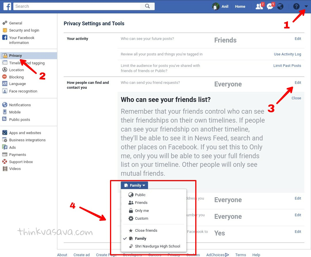 how to hide friends list on facebook in hindi