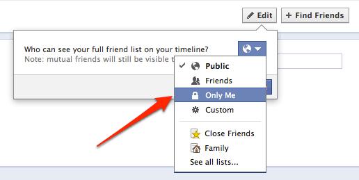Hide facebook friends list